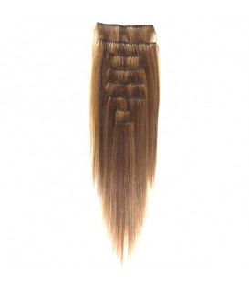 """Hairworx Clip on Extensions Golden Brown 8pc - 18"""""""