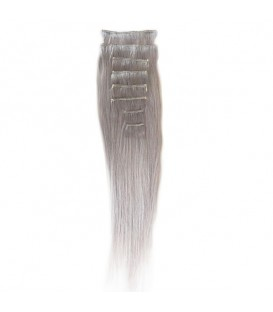 """Hairworx Clip on Extensions Silver Grey 8pc - 14"""""""