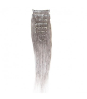 """Hairworx Clip on Extensions Silver Grey 8pc - 18"""""""