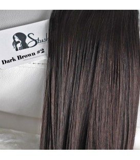 "STUSH Peruvian Virgin Remy Clip-ins Dark Brown 18"" -- OUT OF STOCK"